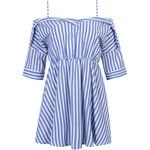 Blue Stripe Off Shoulder Half Sleeve Dress