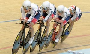 Great Britain's team pursuit quartet with Bradley Wiggins.