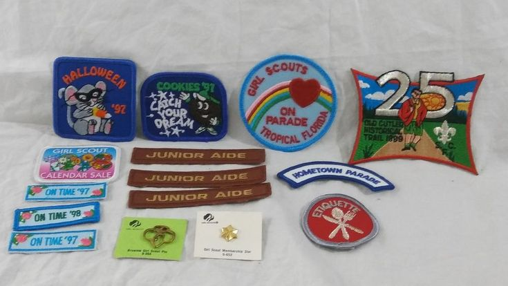 Mixed Lot of Vintage Brownie Girl Scout Pins Patches #girlscouts #brownies