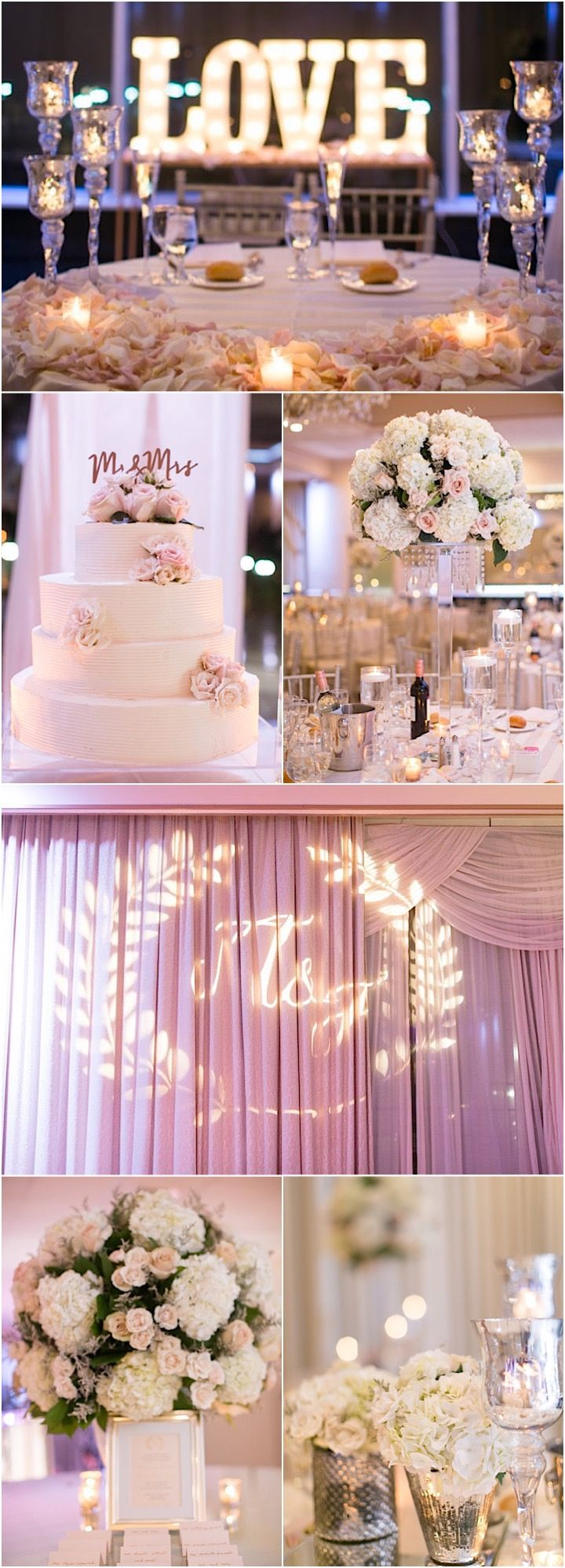 Blush pink and white ballroom wedding reception idea; featured photographer: Amy Rizzuto