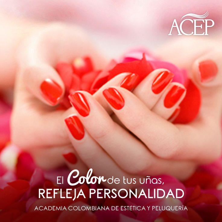 El color rojo transmite sensualidad y romanticismo, conceptos que hacen parte de la personalidad y tu futuro laboral  Somos más que una academia ACEP Para un Futuro Laboral con Éxito Garantizado  #Peluquería #Uñas #Mujeres #Hermosas #Estética #Belleza #Peluqueria