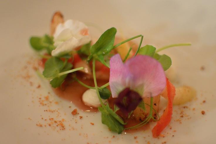 White carrots w roasted salsify, Woodside goat curd & roast plum 'tea'