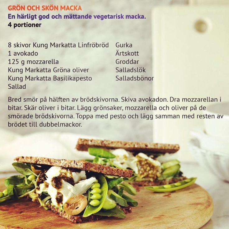 Grön och skön macka 🌱 En härligt god & mättande (lakto-)vegetarisk macka. Vilket är ditt godaste pålägg?💚 #kungmarkatta #recept #mackor #vego *** salladslök, groddar/ärtskott, sallad, tomat/gurka/hummus, avokado, mozzarella ost, pesto/kyckling,