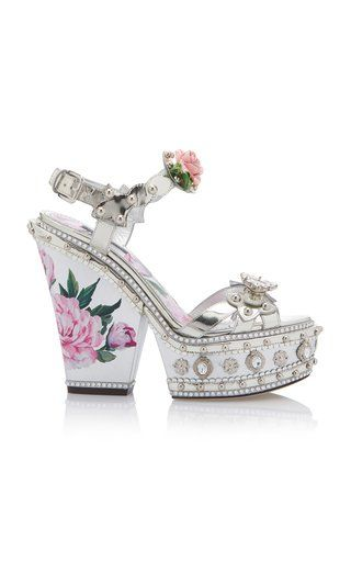 5a1ad820a13 Floral Metallic Wedge Sandals by Dolce   Gabbana SS19