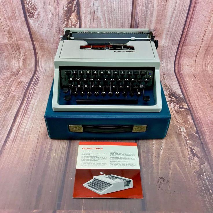 Vintage Typewriter Olivetti Dora Portable original white case + manual 70's WOW
