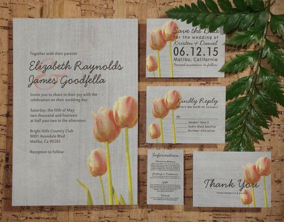 Vintage Tulip Wedding Invitation Set/Suite, Invites, Save the date, RSVP, Thank You Cards, Info Response Card, Printable/Digital/PDF/Printed