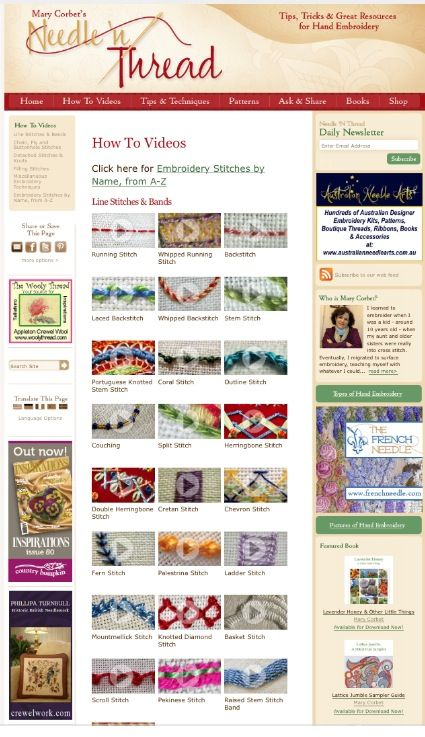 Awesome video tutorials for lots of hand embroidery stitches by Mary Corbet: http://www.needlenthread.com/videos