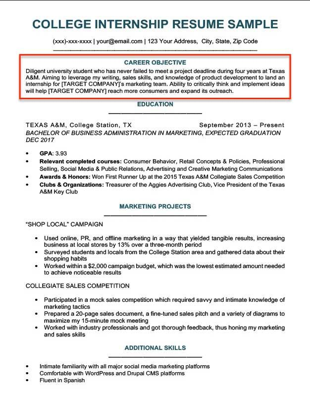 resume template objective examples
