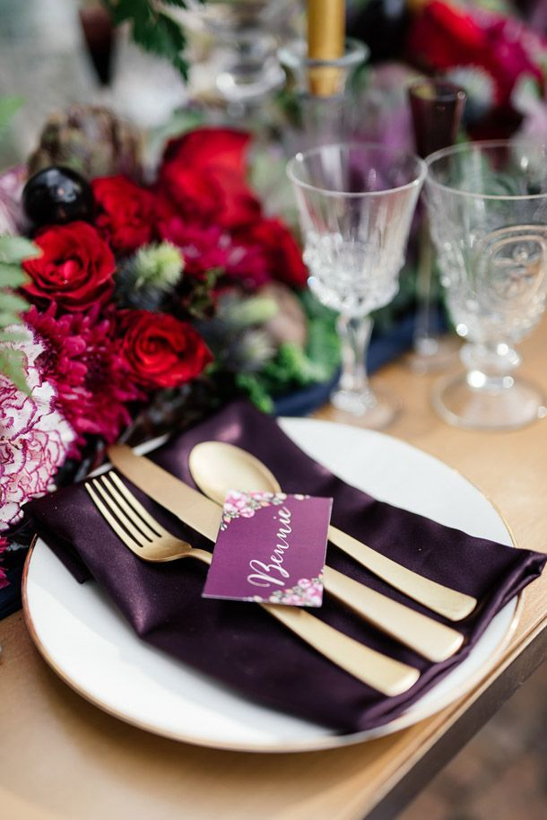 Aubergine & Vine Wedding Inspiration, purple wedding ideas, boho wedding reception, bohemian wedding trends