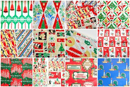 notes on paper: Be careful not to tear it. It's too nice to throw away! Indulge in some vintage Christmas wrapping paper nostalgia.