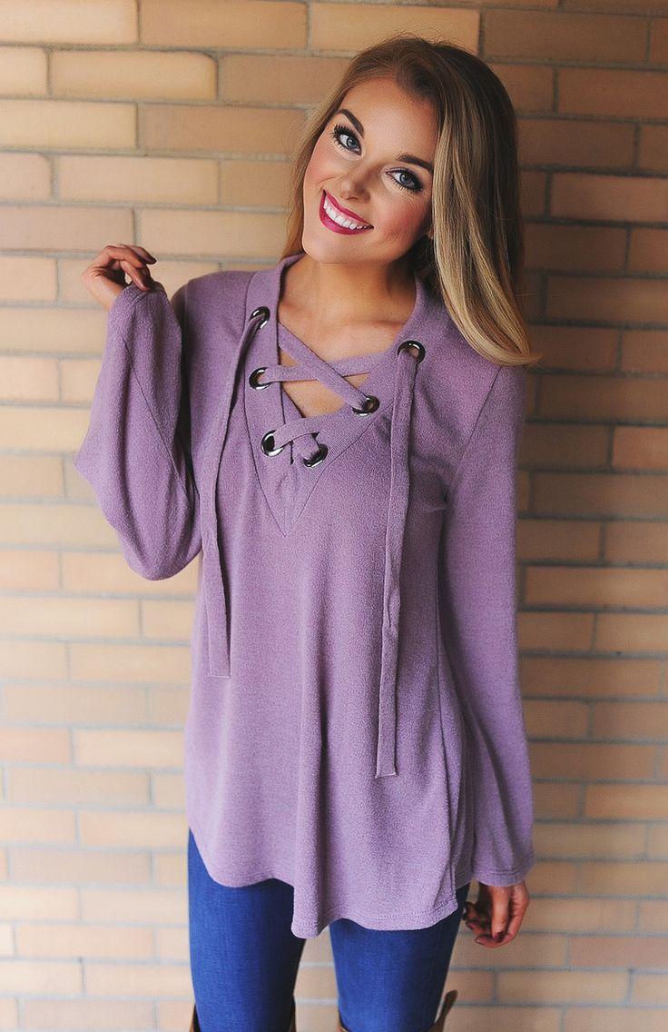 Mauve Knit Lace-Up Top - Dottie Couture Boutique