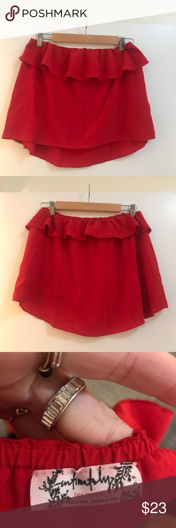 Free people red ruffle tube top size S Free people red ruffle tube top size Small  Preowned worn once Free People Tops Crop Tops