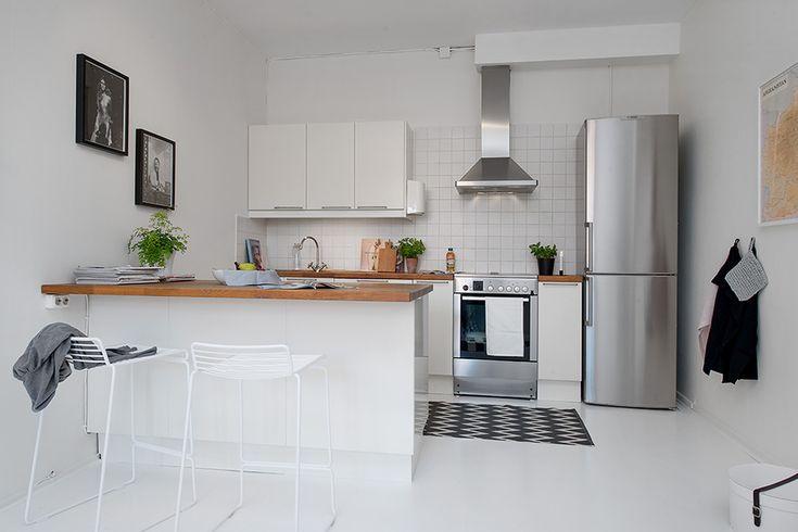 Kitchen Interior Design Small Single Room Apartment In Black And White Gothenburg Sweden Tiny Kitchen Design Small Modern Kitchens Kitchen Design