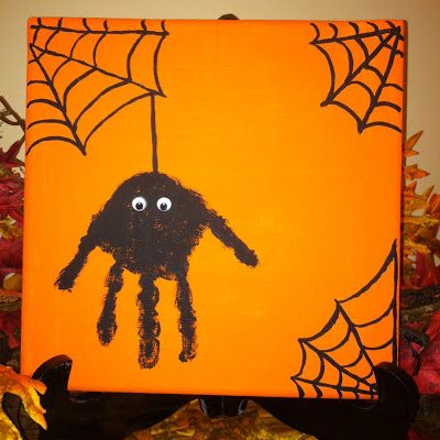 such a cute idea a halloween spider hand print canvas add a handprint every year and watch them grow - Halloween Spider Craft Ideas