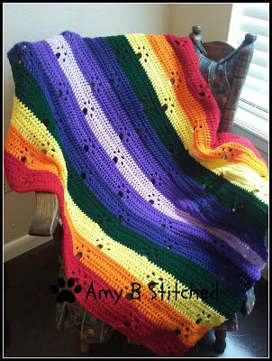 A Stitch At A Time for Amy B Stitched: Meandering Paw Prints over the Rainbow Bridge Afghan FREE Crochet pattern