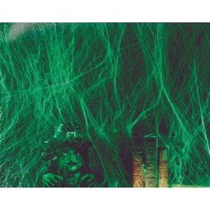 Toile d'araignée verte lumière noire 4 mètres avec 4 araignées, Toile d'araignée phosphorescente de déco en fibres très réaliste et résistante pour déco d'1 pièce entière, Halloween, fêtes. http://www.baiskadreams.com/549-toile-d-araignee-verte-lumiere-noire.html
