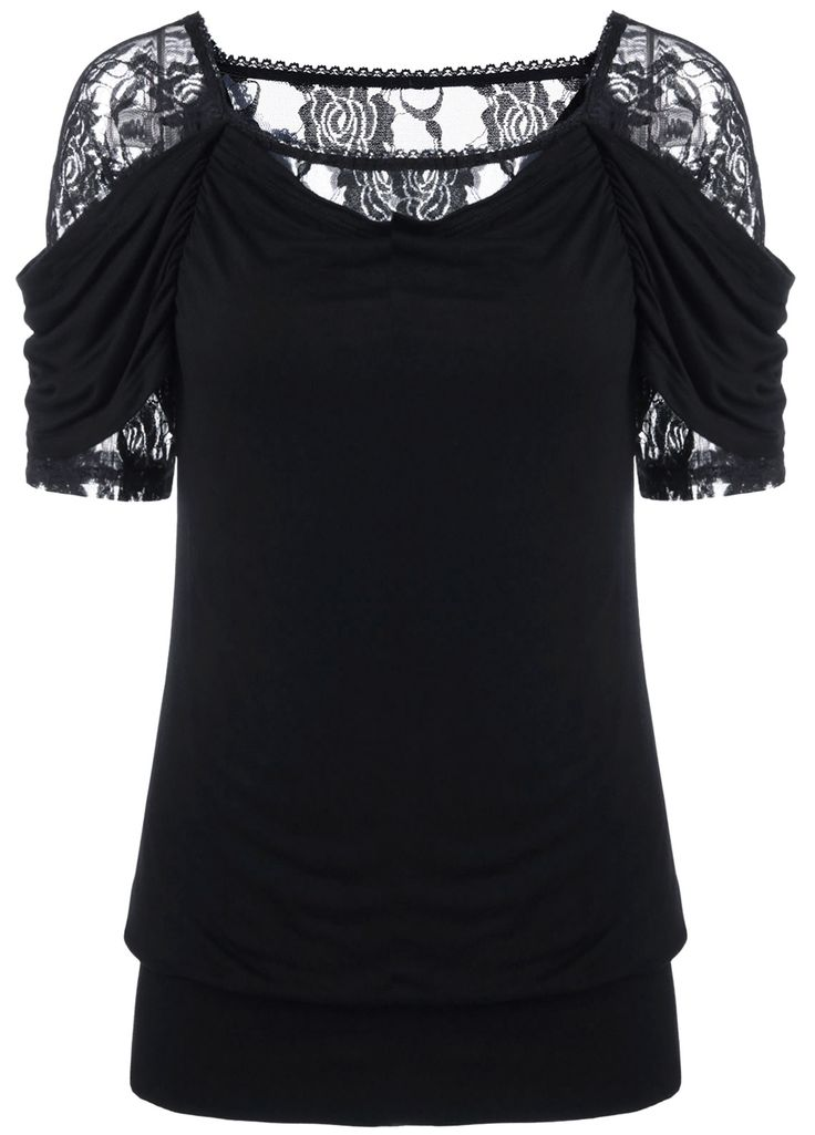$14.36 Lace Trim Ruched T-Shirt