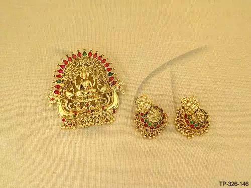 TP-326-146    Laxmi ji virajit temple pendant set jewellery