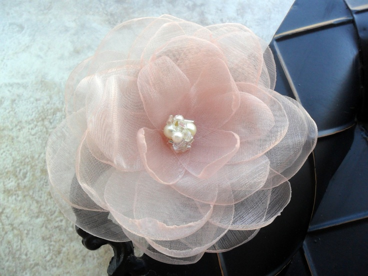 Blushing Bella - hand cut and singed organza and flower hairpiece with swarovski crystals and pearls. $27.00, via Etsy.