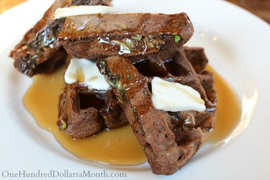 zucchini waffles. Makes a huge portion; may want to half. Also add a ...