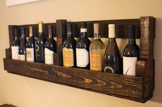 Perfect for the wine cellar:)Dining Room, Pallets Shelves, Pallets Furniture, Wooden Pallets, Wine Holders, Wine Bottle, Wood Pallets, Pallets Projects, Pallets Wine Racks