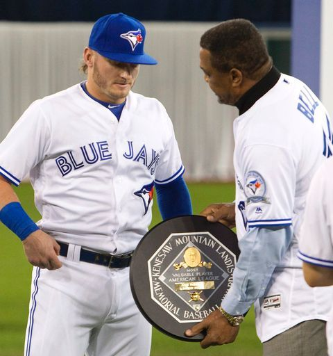 A public presentation of the 2015 AL MVP Award to Josh Donaldson, TOR, by George Bell - the only other Jay to have won the MVP//home opener, April 8, 2016