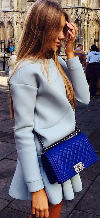 #street #fashion fall light blue dress @wachabuy