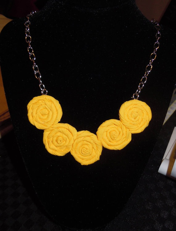 Sunshine Yellow Rosette Necklace mini  Summer by TheGentleFlower