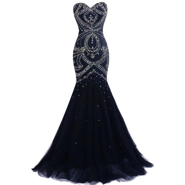 Fashionbride Women's Crystals Lace-up Prom Dresses Long Formal Evening... ($145) ❤ liked on Polyvore featuring dresses, gowns, long evening dresses, long gown, white formal gown, white prom gown and long formal dresses