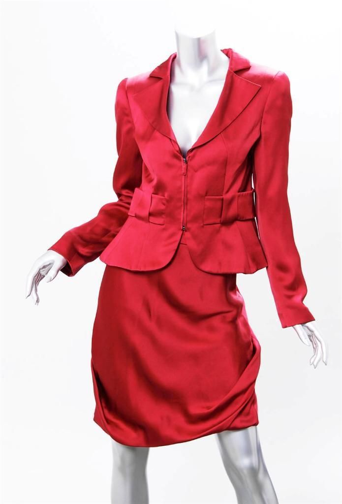 Giorgio Armani Womens Red Silk Satin Zip Up Jacket Skirt Suit Outfit 40 New | eBay