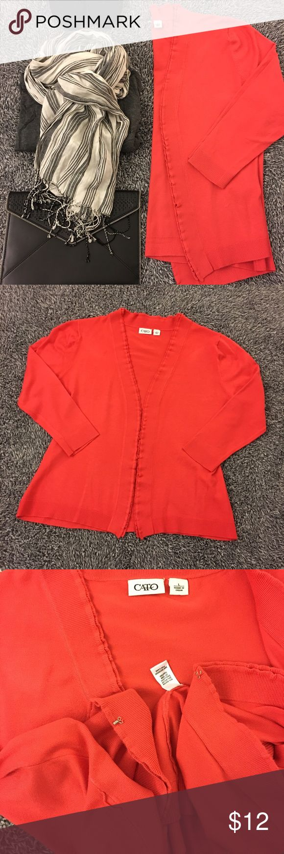 Bold coral cardigan - add a lil' color to ur life! Hardly worn. Great shape & SF. Has belt loops so you can add a belt of your choice. Can be clasped shut in the front. (See pictures 4 details.) Cute layered/ruffle like detail on the front. Prefect 4 layering. Bust measures 21 inches laid flat. Hips are about 20.5. Length is 23. Sleeve length is 19 inches from shoulder seam to cuff hem. Orange/red/coral color - pics are pretty accurate. Questions? Ask! Offers/bundles welcomed! No…