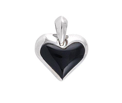 Ezüst ónix köves szívmedál
