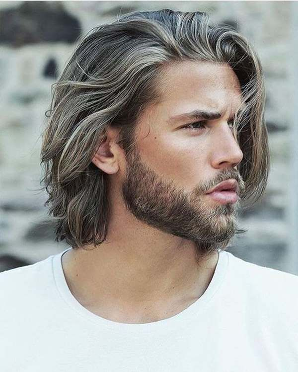 Nice long men's haircut and beard trim!