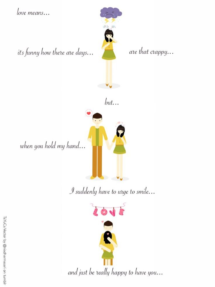 Cute Couples Illustrations — Love means…just be really happy to have you