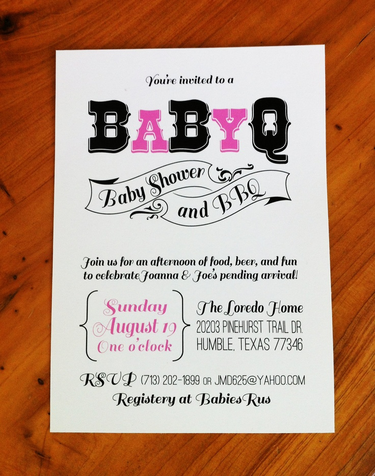 27 best Baby Shower BBQ Invitations images on Pinterest ...