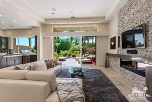 Contemporary Living Room With Arizona Tile White Wave Granite Tv Wall Mount Travertine Floors