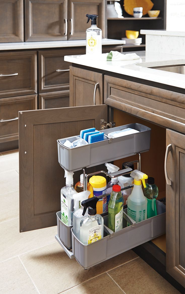 organized cleaning supplies inside your kitchen cabinets