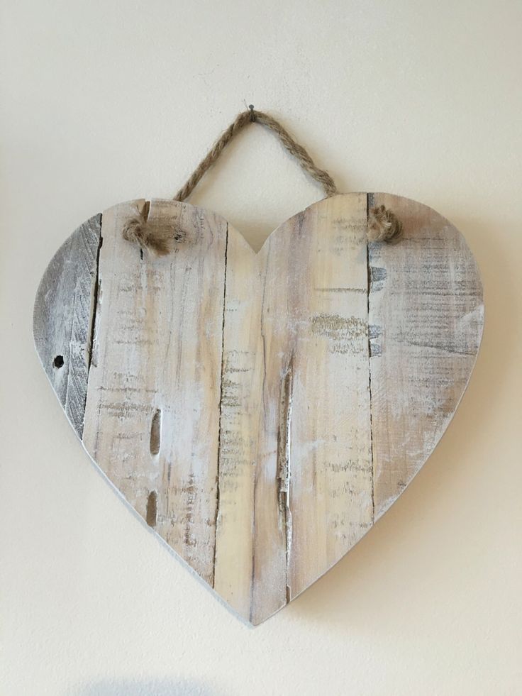 Rustic reclaimed wood pallet white washed heart with twine by WickedGoodGoods on Etsy https://www.etsy.com/listing/470239824/rustic-reclaimed-wood-pallet-white