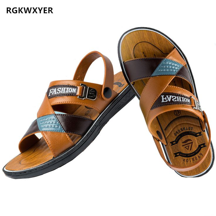 RGKWXYER New Summer Men's Sandals Slippers Dual Use Non slip Men's Shoes Leisure Beach Shoes Open Toe Fashion Men's Slippers