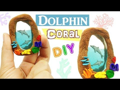 DIY MINIATURE DOLPHINS CORAL REEF ENVIRONMENT Polymer Clay & Resin tutorial - YouTube