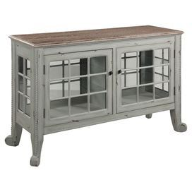 """Showcasing rolled feet and 2 glass-paned doors, this wood console table is a rustic canvas for displaying a vase of vibrant blooms or array of family photos.  Product: Console tableConstruction Material: Oak veneer and glassColor: GreyFeatures:  Two doors with two removable shelvesRolled feetDimensions: 32"""" H x 48"""" W x 16"""" D"""