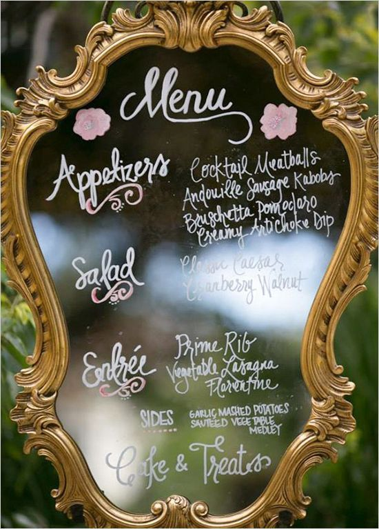 Dry erase markers and a great thrift store mirror… You could use this for menus, cute quotes, facts about the bride and groom, etc.