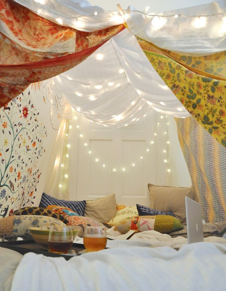 If it's a rainy, fall day... might as well embrace it and get cozy! Blanket Forts For Grown-Ups! Yes, please!