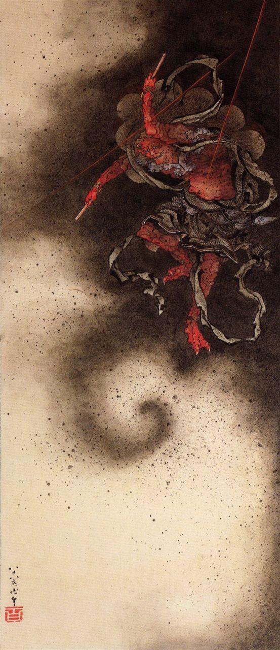 雷神図 God of Thunder, painting by Gakyō Rōjin Manji 卍 (Hokusai in his last years, 1834-1849)
