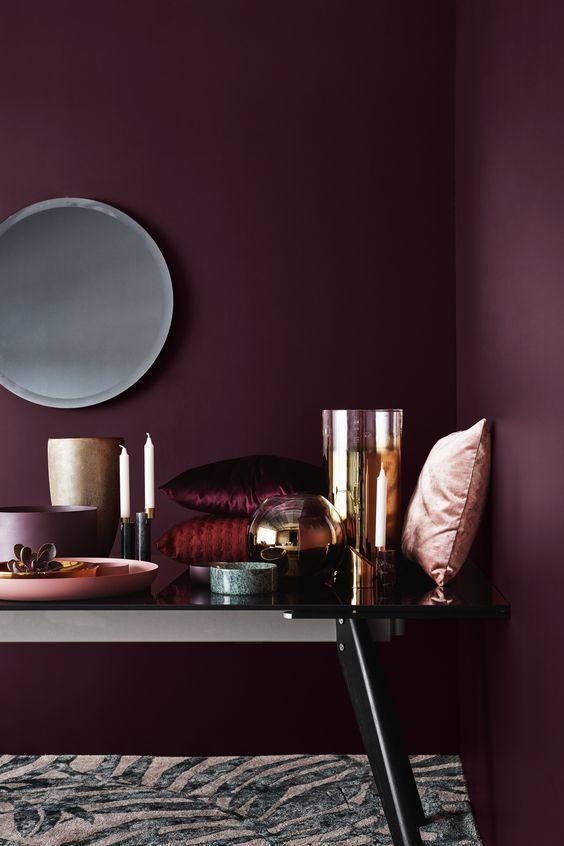 187 besten coloured walls bold bilder auf pinterest for Weinrote deko
