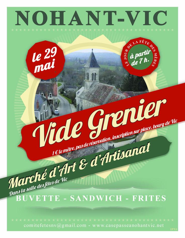 Vide grenier et marché d'art et d'artisanat, Nohant-Vic, Salle des fêtes, Rue des Sablières, Dimanche 29 Mai 2016, 7h00 > 18h00