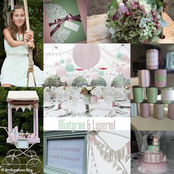 Mint and pink color wedding theme / Mintgrøn og lyserød farvetema bryllup