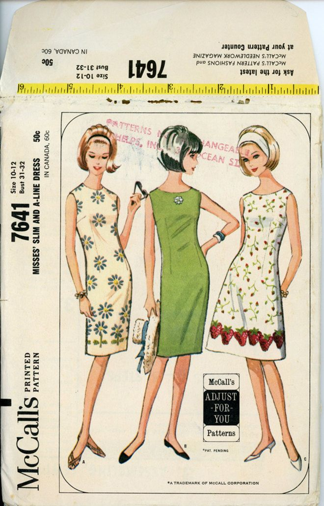 1960s vintage dress pattern mccalls 7641 sheath or a line
