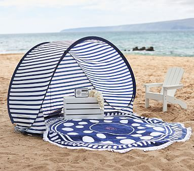 Family Pop Up Tent - Large Navy/ White Stripe