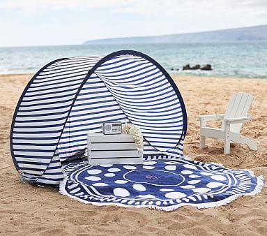 Family Pop Up Tent - Large Navy/ White Stripe